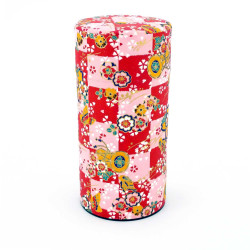 Japanese tea box made of washi paper, DAMIER, red and pink
