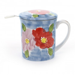 teacup with lid filter and pink and red flower patterns blue HANA SHIKISAI