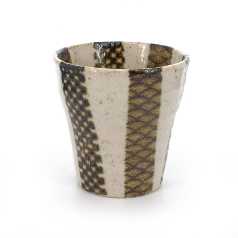 sake alcohol spirits and beer cup with patterns silver and white