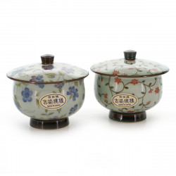 pair of japanese tea bowl with lid - chawanmushi - KOZOME OTOZURE KARAKUSA