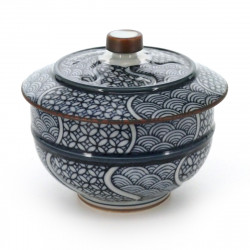 tea cup with lid and patterns blue CHIMON
