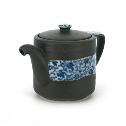 teapot with blue flower patterns grey OBI KARAKUSA