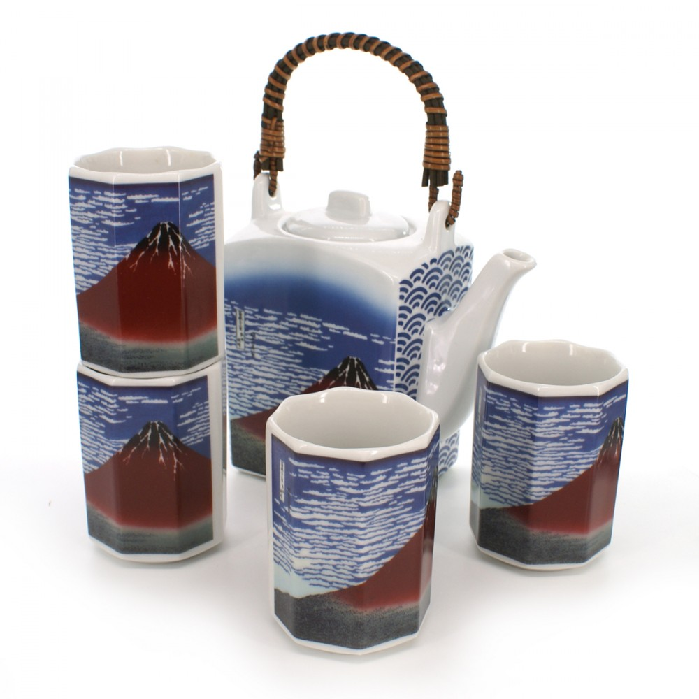 teapot and four teacups set with fujisan pictures blue GAIFÛKAISEI