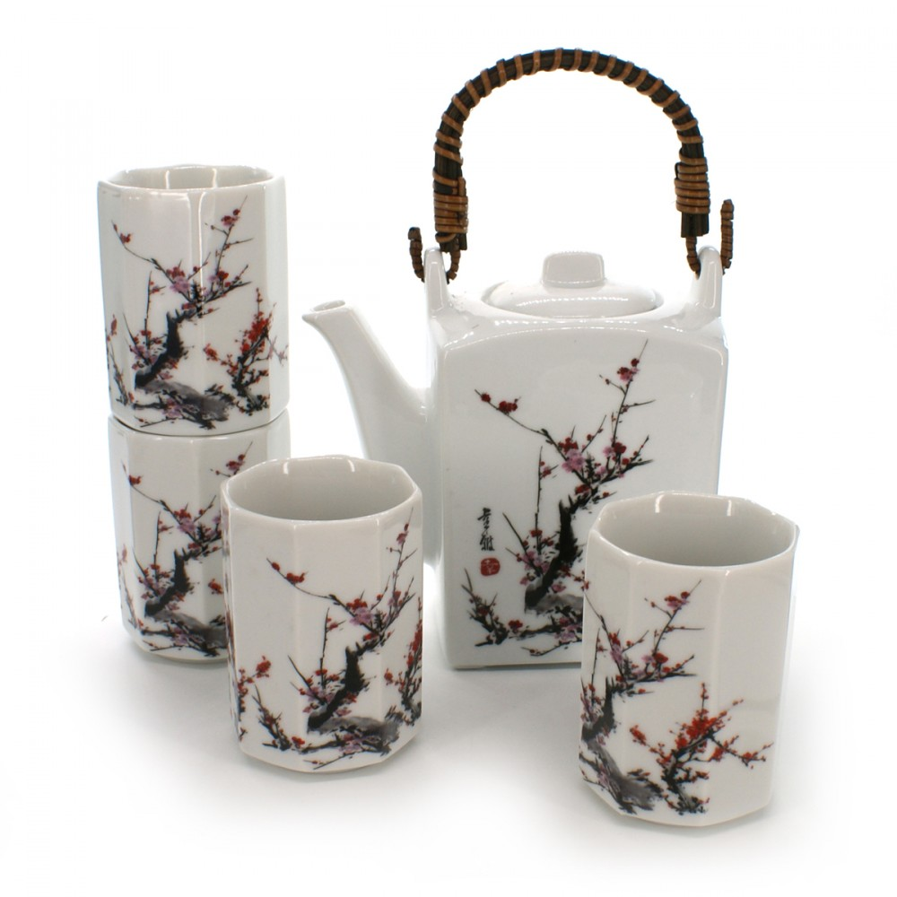 teapot and four teacups set with plum flower pictures white FURUKI UME