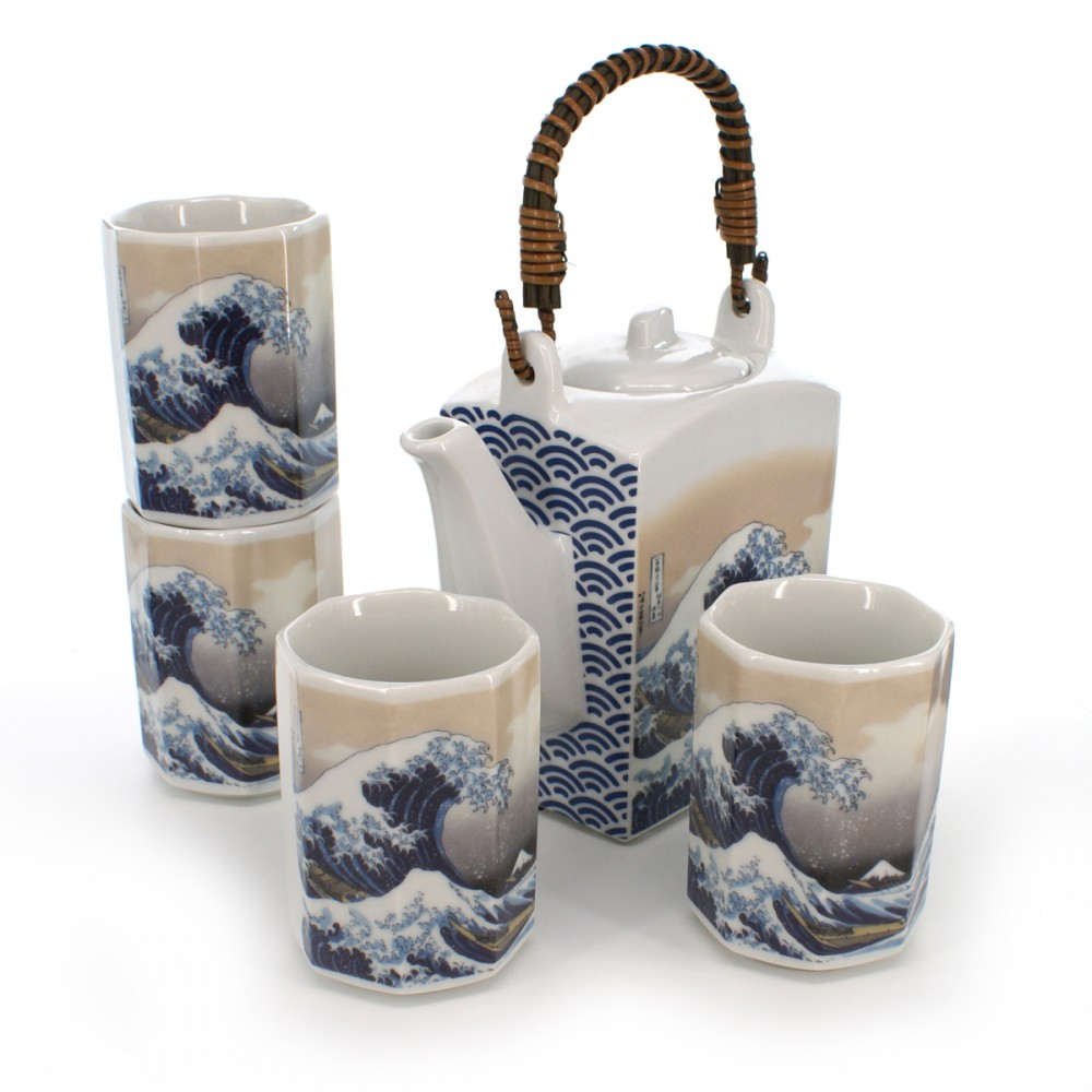 teapot and four teacups set with wave pictures white KANAGAWA URANAMI