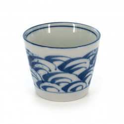Japanese white traditional Soba choko cup with blue patterns SEIGAIHA SOBA CHOKO