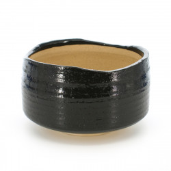 Japanese tea bowl for ceremony - chawan, ORIBE, black