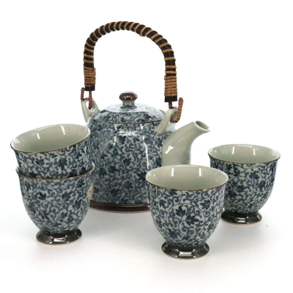 teapot and four teacups set with blue flower patterns white KOZOME TSURU KARAKUSA