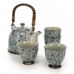 Japanese tea set - 1 teapot and 4 cups, KOZOME SUÎTO, blue flowers