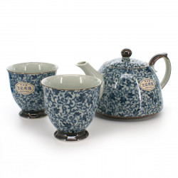 Japanese tea set - 1 teapot and 2 cups, KOZOME TSURU KARAKUSA, blue
