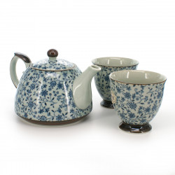 Japanese tea set - 1 teapot and 2 cups, KOZOME SUÎTO, blue flowers