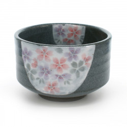 tea bowl with sakura flower patterns grey MONKURO