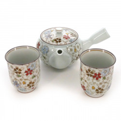 Japanese tea set - 1 teapot and 2 cups, RANMAN, flowers