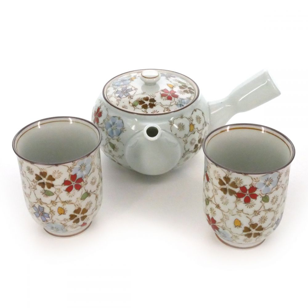 teapot and teacup set with flower patterns white RANMAN