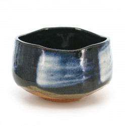 traditional Japanese matcha bowl, blue color, earthenware, KON UWAGUSURI SHIROHAKE